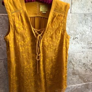 Anthro Maeve mustard top size 8